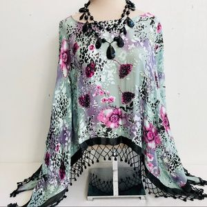 Boho Beaded Fringe Silk Blend Burnout Poncho Top